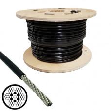 Oceľové lano poplastované v PVC 3/4 čierne